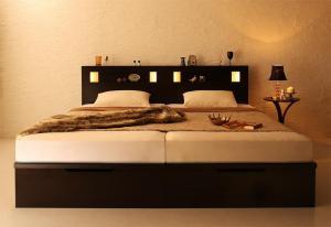 オープニング 大放出セール ベッド 収納付きベッド 収納 収納付 跳ね上げベッド 深型 連結 コンセント付 大容量 宮付き 照明 おしゃれ 組立設置付 ゼルトスプリングマットレス付 縦開 ワイドK200 深さグランド, R-Style 3329f8d8