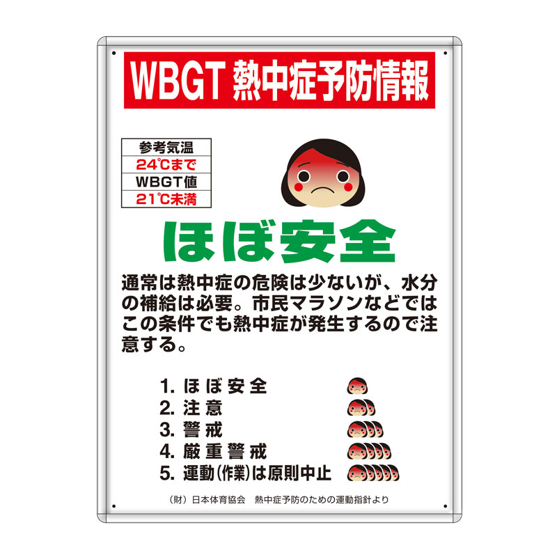 HO-1021 熱中症予防標識 マグネット標識4枚セット