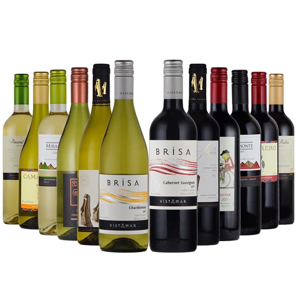 全てチリ産ワイン!普段飲みやパーティに 送料無料 チリ ワイン 赤 白 12本セット 飲み比べ カベルネ・ソーヴィニョン シャルドネ