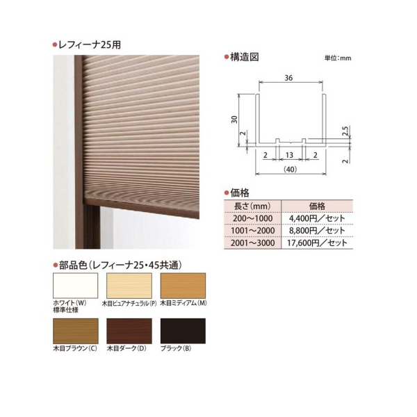 ハニカムスクリーン レフィーナ25専用 オプション 断熱フレーム 長さ201~300cmまで(2本セット)