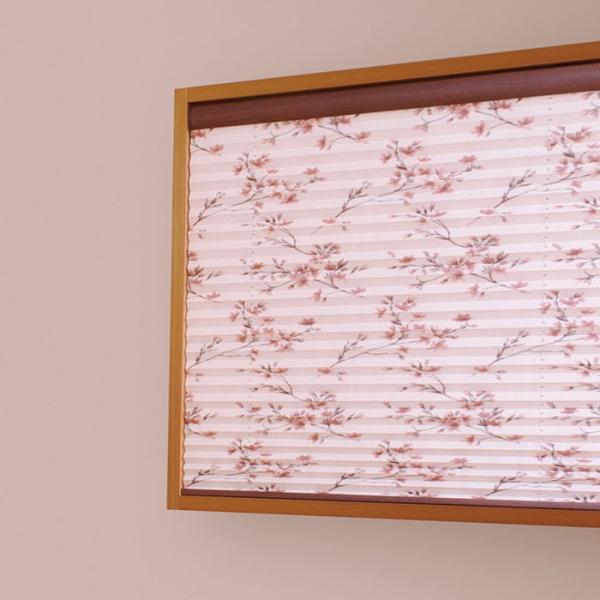 プリーツスクリーン もなみ 25mm ニチベイ 桜ほのか M8098 シングルスタイル(ループコード式) 幅120.5~160cm×高さ30~60cmまで