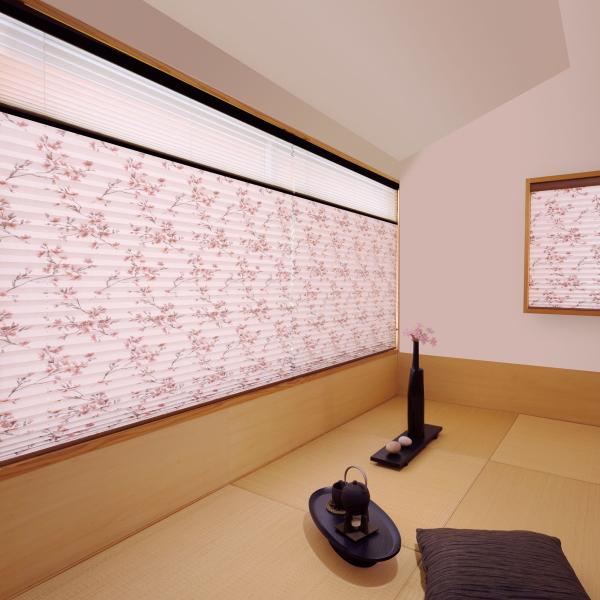 プリーツスクリーン もなみ 25mm ニチベイ 桜ほのか M8098 ツインスタイル(チェーン式) 幅80.5~120cm×高さ61~100cmまで