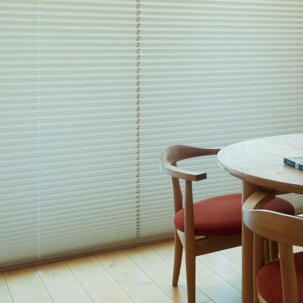 プリーツスクリーン もなみ 25mm ニチベイ シエノス遮熱 M8125~M8127 シングルスタイル(スマートコード式) 幅43~50.5cm×高さ30~60cmまで