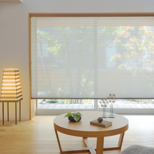 プリーツスクリーン もなみ 25mm ニチベイ リノン シースルー M8164~M8166 シングルスタイル(スマートコード式) 幅43~50.5cm×高さ101~140cmまで