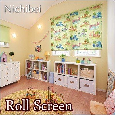 ロールスクリーン オーダー ニチベイ ソフィ 防炎 アニマルパーク N7189 幅121~160cmX高さ201~250cm