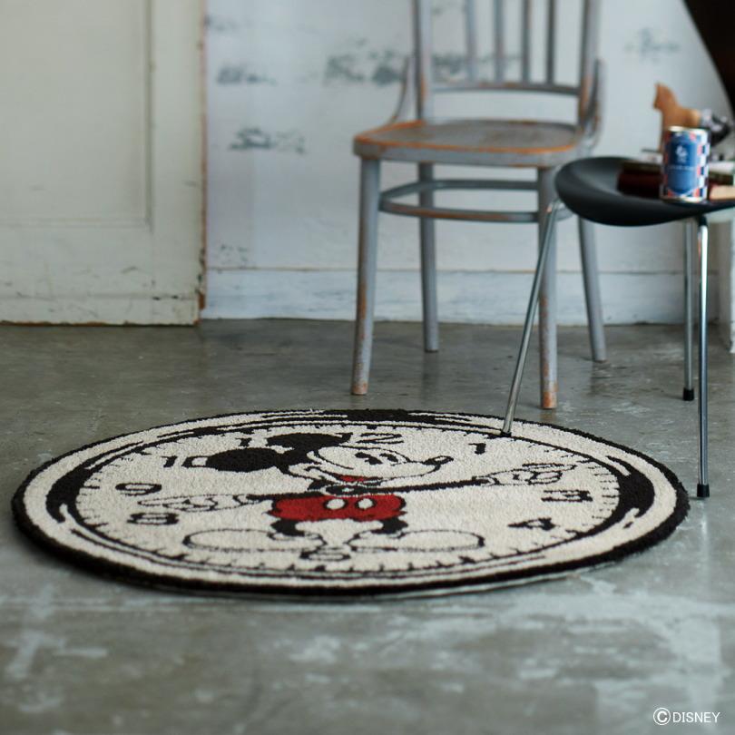ディズニー ラグマット カーペット ミッキーマウス MICKEY On the clock RUG 日本製 約100cmX100cm(円形)