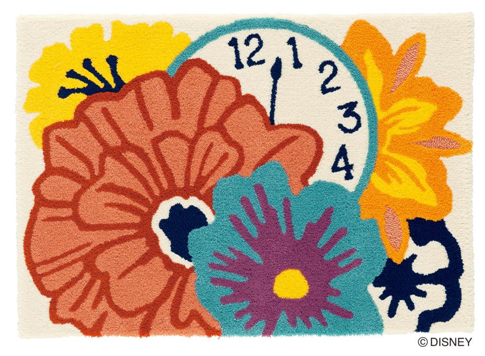 ディズニー ラグマット カーペット 不思議の国のアリス ALICE Flower&Clock RUG 日本製 約90cmX130cm