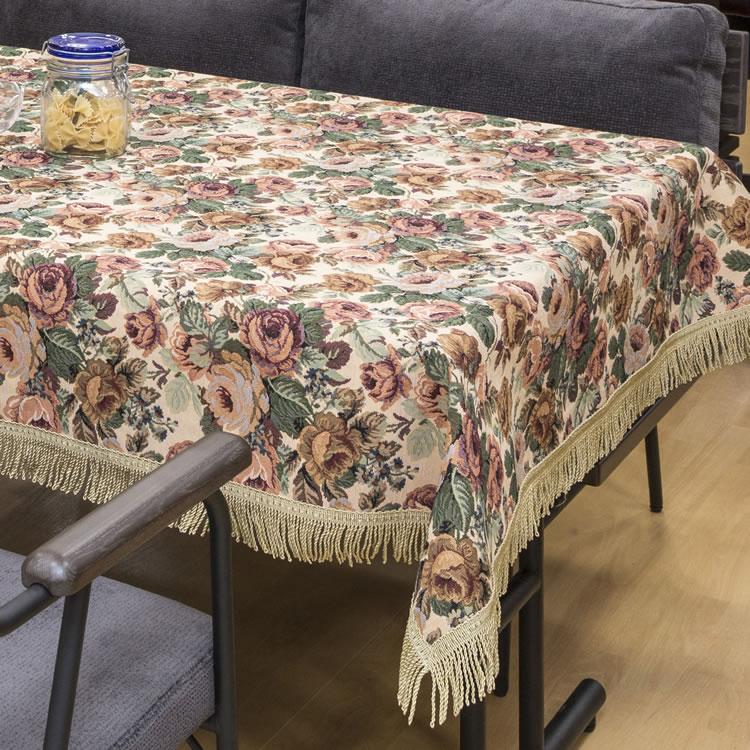 花柄で少し生地の分厚いクロスです ゴブラン織 テーブルクロス 4尺用 日本製 ビニールカバー付 百貨店 送料無料 新品未使用正規品 120cm×150cm