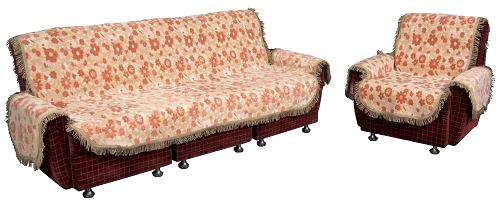 リビングセットカバー/ムーラン(ベージュ・グリーン)【3人掛用両肘付 カバーベルト付】イスカバー LS30-3,LS32-3【こちらの商品は受注生産です】【送料無料!】 椅子カバー 日本製