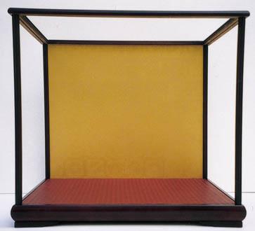 後開け式で人形の出し入れ簡単! 木製人形ケース 幅×奥行=60×50cm 高さ62・65cm バックの色 ワイン色・金色 日本製  ディスプレイ 雛人形ケース ガラスケース 五月人形ケース