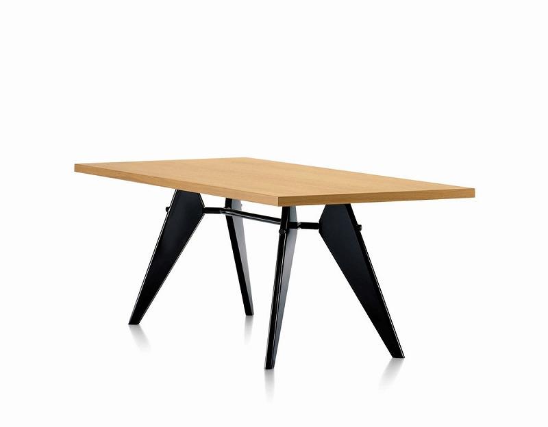 【正規品】 代引き不可 EM TABLE natural oak deep black EMテーブル 天板:ナチュラルオーク 脚部:ディープブラック 212 033 70 W180cm D90cm H74cm EU Jean Prouve ジャン・プルーヴェ オイル仕上げ スチール ダイニングテーブル vitra ヴィトラ