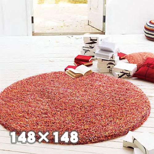 TOLI 東リ ラグTOR3850148cm×148cm 円形 かわいい おしゃれ シャギー レッド 赤 ピンク ラグ 防ダニ加工 ホットカーペットOK 日本製