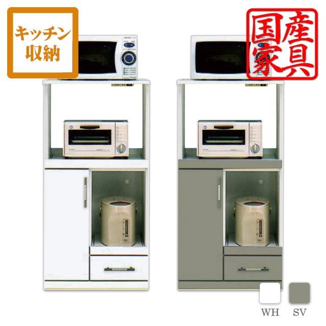 レンジ台 レンジボード 60幅 オープンボード キッチン収納 シルバー ホワイト エナメル 鏡面仕上げ ツヤあり 完成品 日本製 国産 キッチン レンジ収納 北欧 シンプル モダン インテリア 木製 送料無料 おしゃれ かわいい
