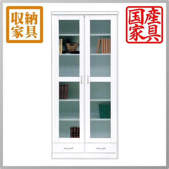 ★店内全品ポイント2倍★本棚 書棚 食器棚 CD DVD収納 フリーボード ホワイト 白 幅80 80幅 高さ180cm おしゃれな鏡面 エナメル 本収納 日本製 完成品 送料無料 おしゃれ かわいい
