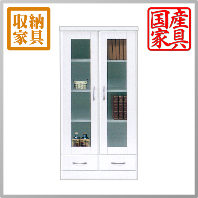 スーパーSALE中P2倍 【送料無料】人気のツヤありホワイト収納棚 本棚 書棚 食器棚 カップボード CD/DVD