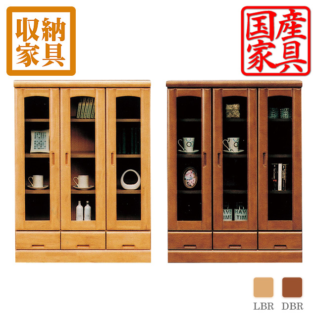 Product made in two colors of bookshelf bookshelf-free board book storing width 90 90 120cm in height in width finished product rubber Wood door drawer light brown dark brown woodenness cabinet Japan Okawa furniture Rakuten mail order available