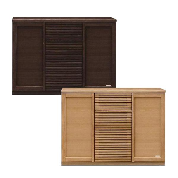 サイドボード キャビネット 完成品 幅120 キッチン収納 ブラウン ナチュラル タモ材 国産 送料無料 おしゃれ かわいい