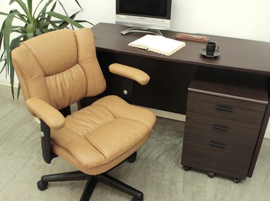 オフィスチェア チェア デスク用 椅子 肘付き キャスター付き デスク用チェア オフィスチェアー 幅63cm 奥行63cm 高さ86~98cm キャメル色 レトロ モダン かっこいいチェア 組み立て品 おしゃれ かわいい