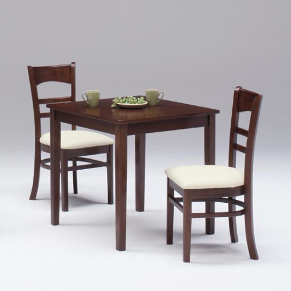 ダイニングテーブルセット ダイニングセット ダイニングテーブル x1 ダイニングチェア x2 テーブル幅75cm 2人掛け 3点セット オーク突板 食卓セット 座面 PVC 合皮 ダークブラウン ライトブラウン 木製 送料無料 おしゃれ かわいい