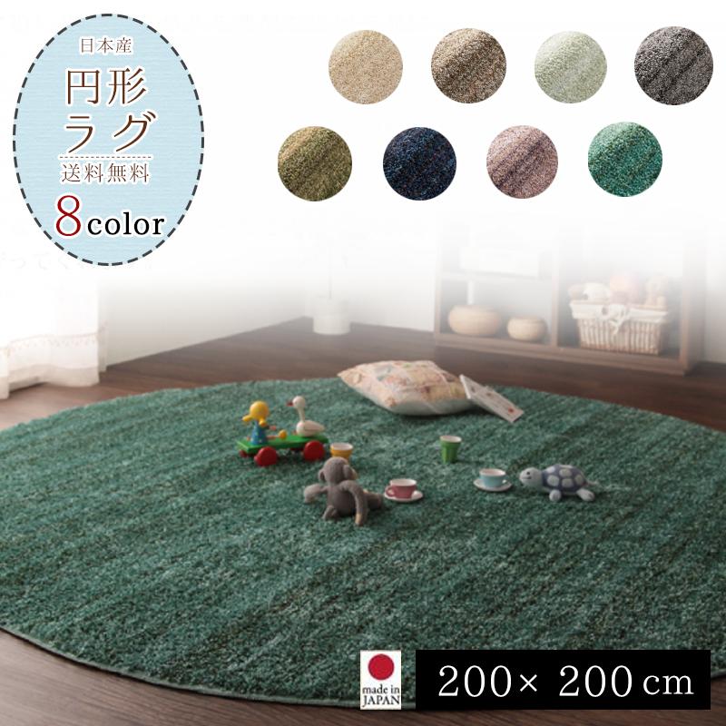 ラグ ラグマット カーペット 200×200 シャギーラグ ラグマット北欧 日本製 絨毯 リビング  デザイン重視 送料無料 おしゃれ かわいい