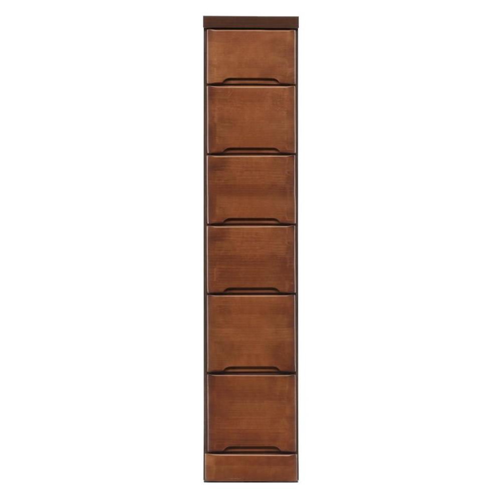 クライン サイズが豊富なすきま収納チェスト ブラウン色 6段 幅25cm