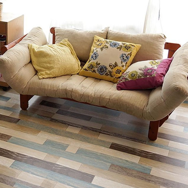 貼ってはがせる!床用 リノベシート ロール物(一反) ペイント木 90cm幅×20m巻 B(ブルー) REN-08R