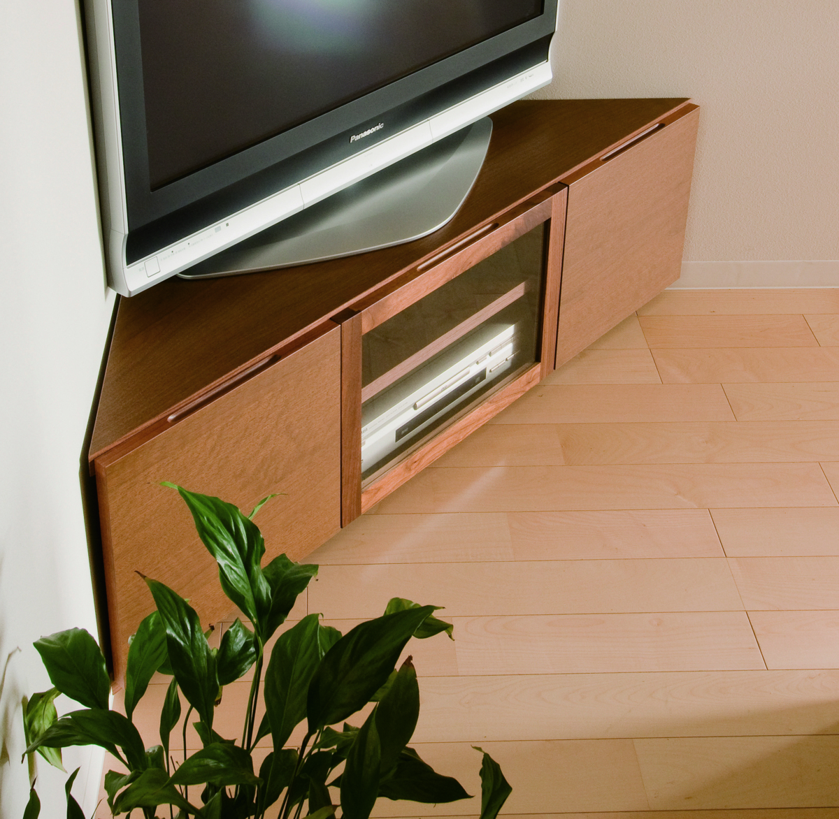 コーナーTVボード 130 テレビボード テレビ台 TV台 角 三角 三角形 ウォールナット シンプル