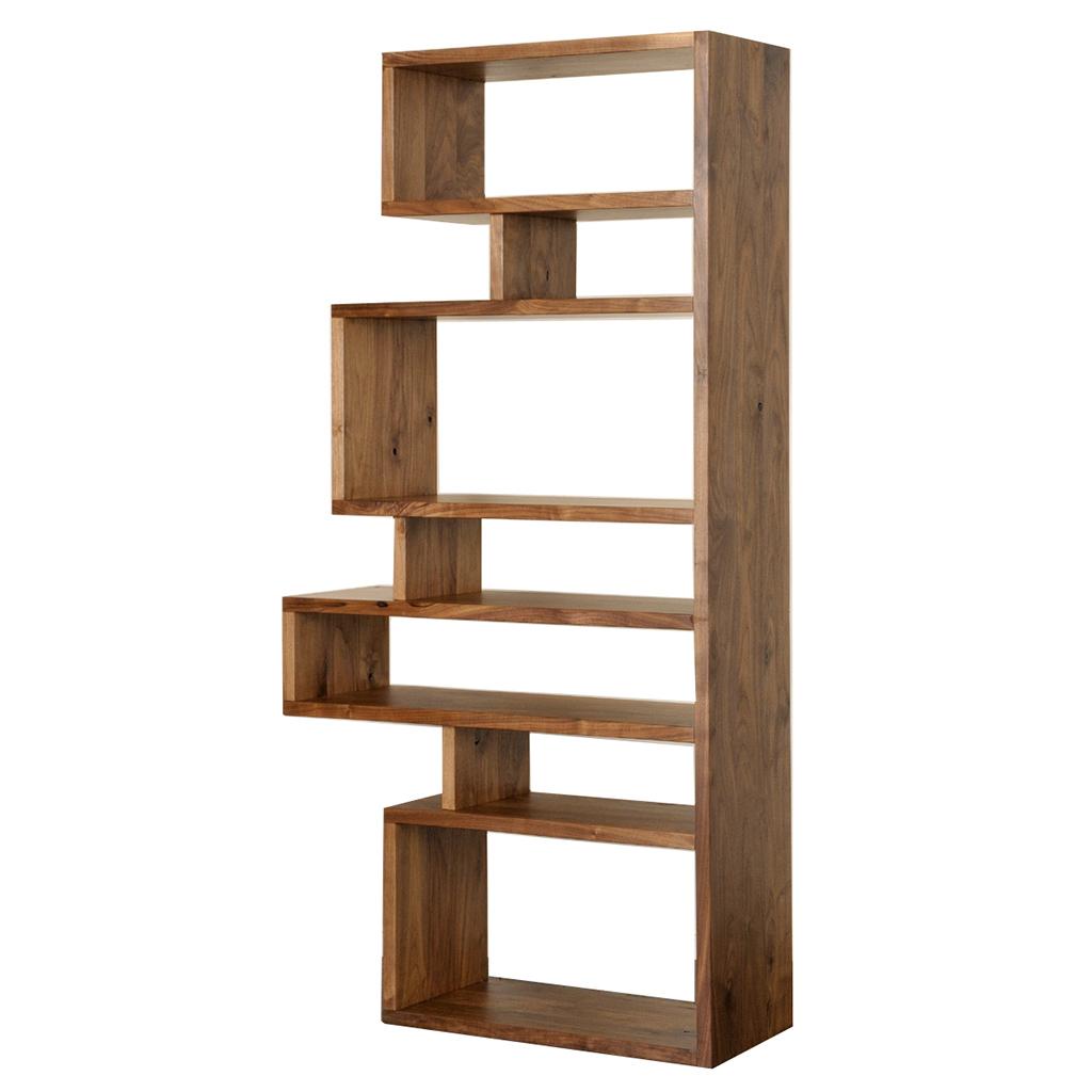 オープンシェルフ 80 90 ジグザクシェルフ ブラウン ナチュラル おしゃれ 木製 オープンラック 有名な 本棚 ウォールナット 無垢材 デザイナーズ 飾り棚 激安価格と即納で通信販売