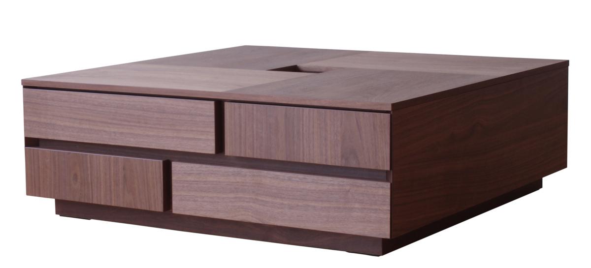 機能美と装飾美を兼ね備えたテーブル 引出し5杯 国産リビングテーブル センターテーブル 正方形 激安 激安特価 送料無料 80 ウォールナット 収納 おしゃれ 木製 天然木 当店限定販売 和モダン ナチュラル 引き出し
