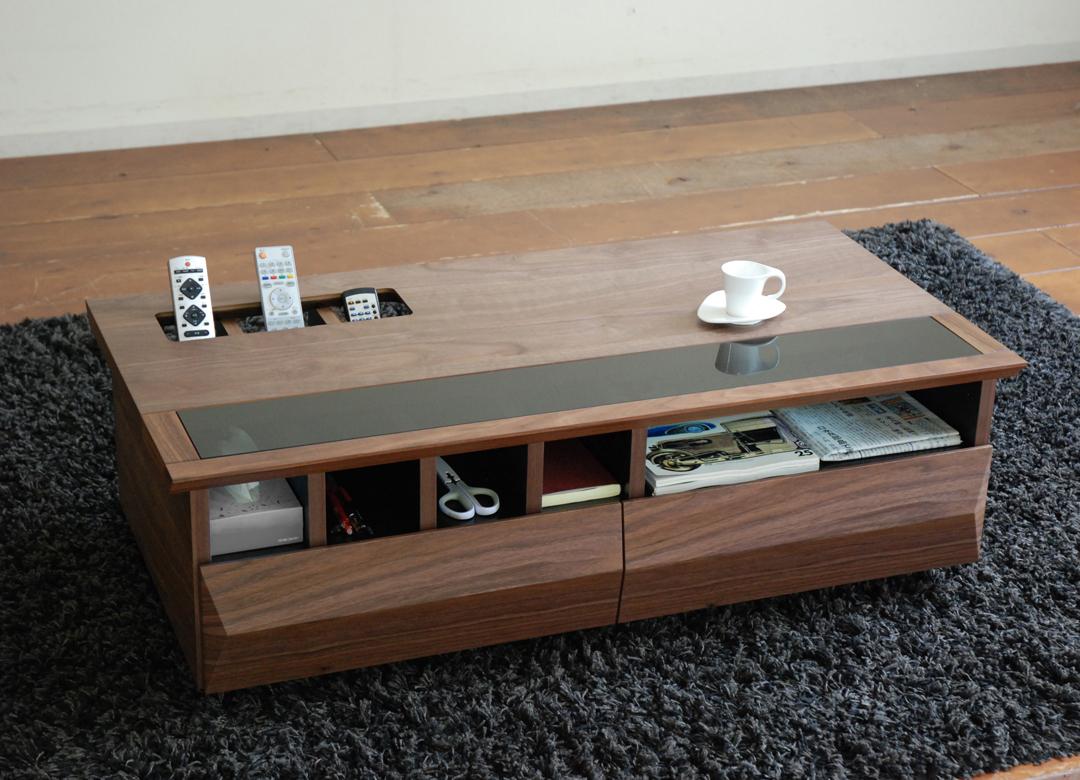 センターテーブル おしゃれ 北欧 引き出し 木製 ウォールナット モダン 送料無料 収納 コーヒーテーブル リビングテーブル ヴァイス モリタインテリア