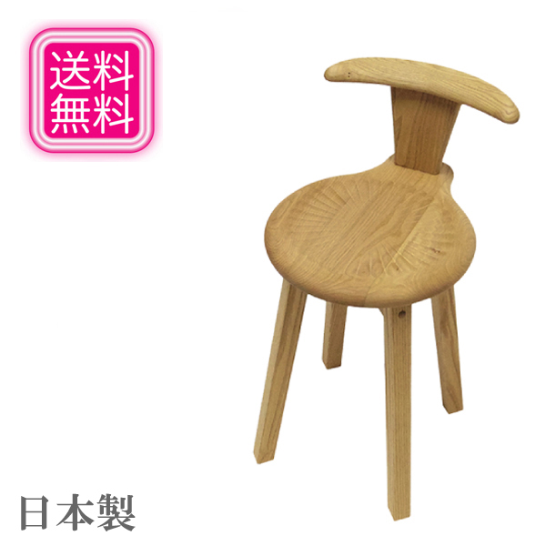 小椅子 おしゃれ スツール 木製 無垢 ポムチェアー カントリー 北欧 日本製 国産 高級 遊木舎 送料無料 通販 【yub】