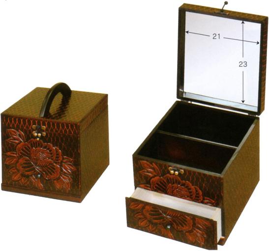 鎌倉彫 メイクボックス 鏡付き コスメボックス 持ち運び メイクBOX 登場大人気アイテム 木製 コスメBOX おしゃれ 化粧品 期間限定特別価格 日本製 化粧箱 収納 和風 kam 敬老の日 母の日 通販 国産 送料無料
