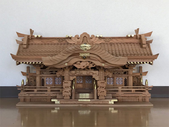 神棚 三社 屋久杉 彫刻三社 切妻 低口 古代杉 高級 送料無料 通販 【kam】