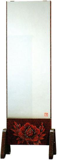 鎌倉彫 姿見 スタンドミラー 和風 全身鏡 全身ミラー 鎌倉彫り 高級 国産 日本製 送料無料 通販 FK-159 【kam】