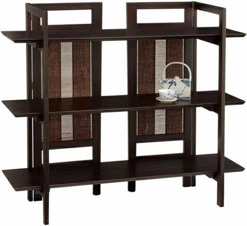 アジアン オープンラック 木製 オープンシェルフ 飾り棚 和風 間仕切り 収納 おしゃれ 送料無料 通販 ES-8211 【akb】