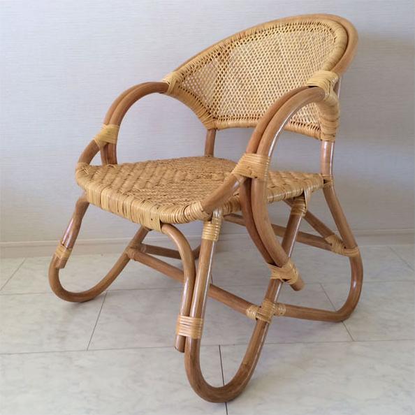 アームチェア 籐 椅子 ラタン 1人掛け ダイニングチェア 肘付き リビングチェア アジアン 軽量 送料無料 通販 43 【inc】