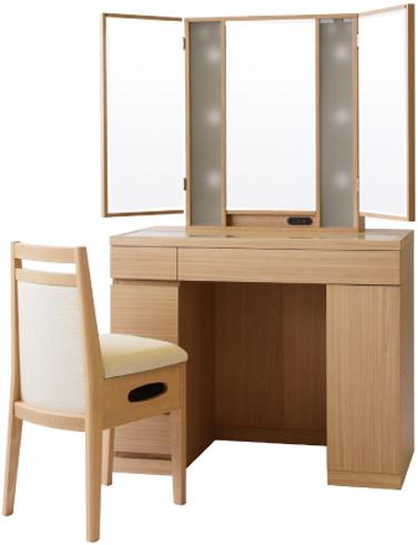 Interior Marudai Dresser Triple Mirror Dressing Table With Chair