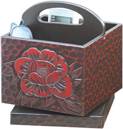 鎌倉彫 リモコンボックス 木製 リモコンケース 和風 リモコンラック 回転式 リモコン収納 おしゃれ リモコンBOX 国産 日本製 送料無料 通販 T5460 【ken】
