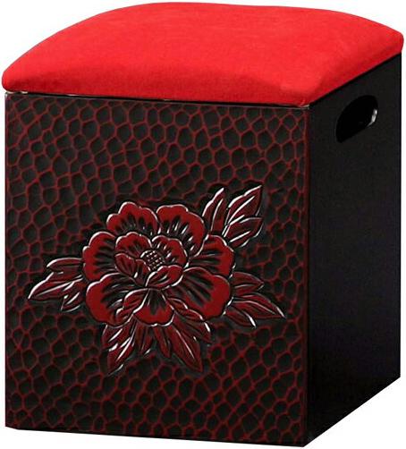鎌倉彫 スツール 収納付き 箱椅子 和風 収納椅子 日本製 箱いす 国産 箱イス 完成品 敬老の日 送料無料 通販 T5486 【ken】
