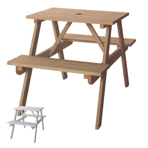 パラソルも設置できるテーブル付きベンチ ガーデンテーブル テーブルベンチ W75 ( 送料無料 ガーデンチェア ガーデンセット ウッドテーブル ウッドチェア コンパクト 収納 木製 アウトドア 屋外 すのこ状 通気性 一体化型 パラソル 使用可 幅75cm )【39ショップ】