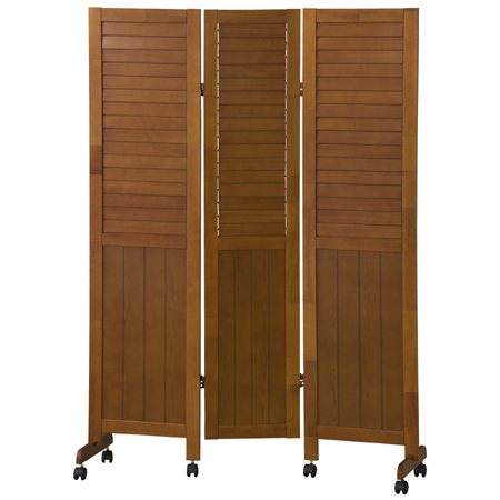 louver type screen 3 natural wood frame on castors height 160 cm partition room - Natural Wood Frame