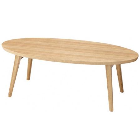 折れ脚テーブル クレラ オーバル型 アッシュ材 幅105cm ( 送料無料 折りたたみ センターテーブル ローテーブル だ円 楕円 ナチュラル 机 座卓 ) 【5000円以上送料無料】