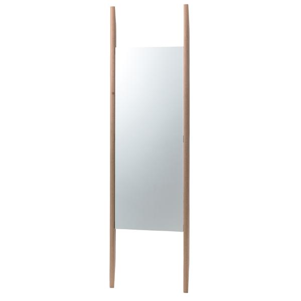 スタンドミラー 立て掛け型 シンプルデザイン ウッドフレーム 幅46.5cm ( 送料無料 姿見 鏡 全身鏡 ミラー かがみ 全身ミラー ルームミラー 玄関 洗面所 リビング 木目 木製 飛散防止加工 )【5000円以上送料無料】