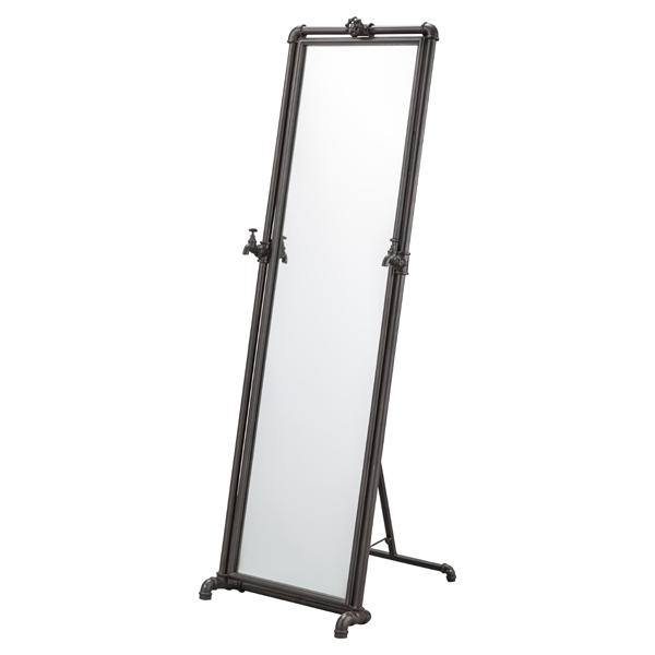 スタンドミラー パイプフレーム インダストリアル風 幅46cm ( 送料無料 ミラー 姿見 かがみ 鏡 全身 シンプル ブラックスチール ブラック 黒 新生活 おしゃれ モダン おすすめ )【39ショップ】