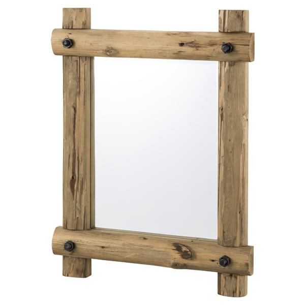 ウォールミラー 天然木 古材風 幅59cm ( 送料無料 ミラー かがみ 鏡 壁掛け 杉 木製 ウッド 家具 おしゃれ 80センチ 長方形 )【5000円以上送料無料】
