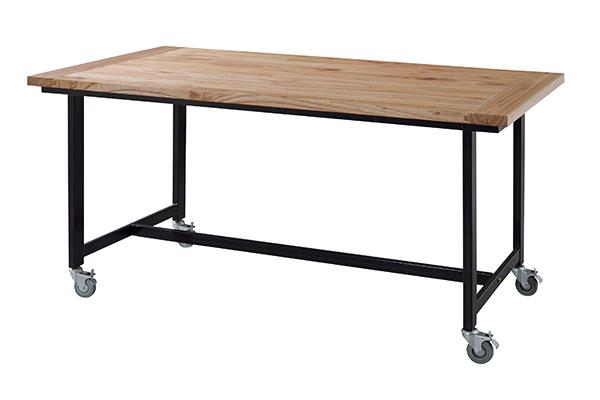 ダイニングテーブル 食卓 スチールフレーム キャスター付 幅150cm ( 送料無料 テーブル 食卓テーブル 机 木製 4人掛け 4人用 四角 キャスター 木製テーブル 食卓机 食事テーブル つくえ )【5000円以上送料無料】