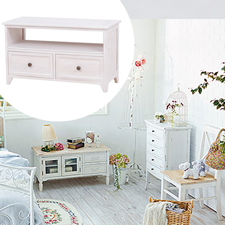Tv Stand Shabby Wood Antique Width 75 Cm White Units Lowboard Drawer Snack Make Av Storage Small Medium 24 Inch 26 Natural