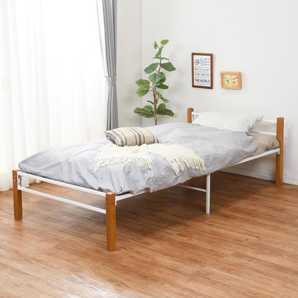 ベッド シングル スチールパイプ 木製 天然木 収納 メッシュ床 ( 送料無料 シングルベッド ベット パイプベッド ベッドフレーム フレーム パイプ ホワイト 通気性 湿気 対策 ベッド下収納 1人暮らし おしゃれ )【5000円以上送料無料】