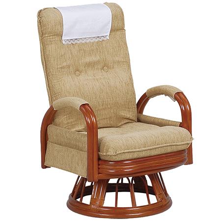 籐〔ラタン〕 回転座椅子 ギア式 ハイバックタイプ 座面高37cm ベージュ ( 送料無料 座椅子 チェア ) 【5000円以上送料無料】