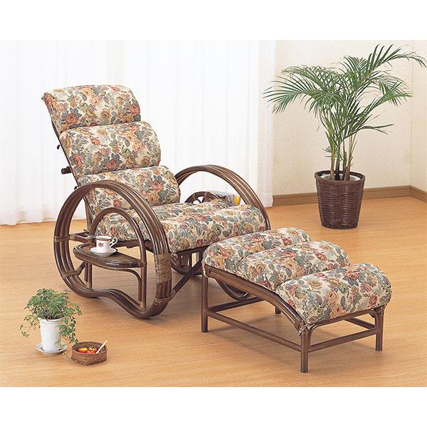ラタンチェア 三つ折り寝椅子 クッション付 リクライニング 籐家具 ( 送料無料 椅子 イス アジアン ) 【39ショップ】